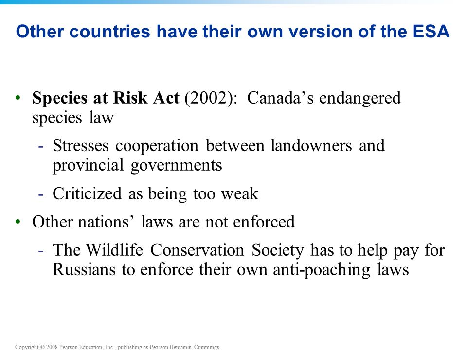 Copyright © 2008 Pearson Education, Inc., publishing as Pearson Benjamin Cummings Other countries have their own version of the ESA Species at Risk Act (2002): Canada's endangered species law -Stresses cooperation between landowners and provincial governments -Criticized as being too weak Other nations' laws are not enforced -The Wildlife Conservation Society has to help pay for Russians to enforce their own anti-poaching laws