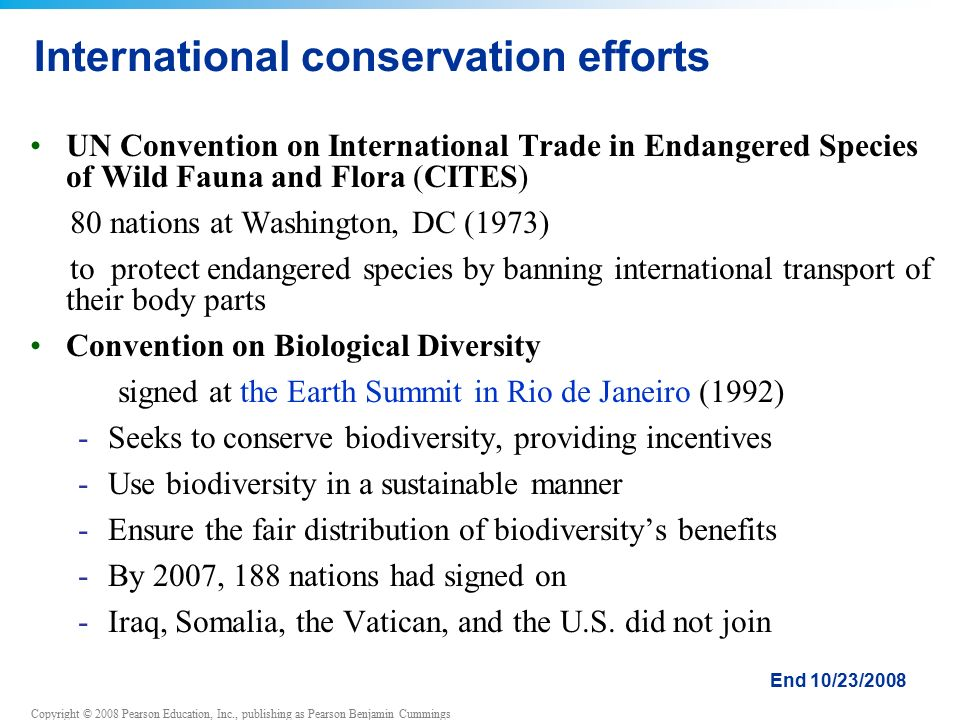 Copyright © 2008 Pearson Education, Inc., publishing as Pearson Benjamin Cummings International conservation efforts UN Convention on International Trade in Endangered Species of Wild Fauna and Flora (CITES) 80 nations at Washington, DC (1973) to protect endangered species by banning international transport of their body parts Convention on Biological Diversity signed at the Earth Summit in Rio de Janeiro (1992) -Seeks to conserve biodiversity, providing incentives -Use biodiversity in a sustainable manner -Ensure the fair distribution of biodiversity's benefits -By 2007, 188 nations had signed on -Iraq, Somalia, the Vatican, and the U.S.