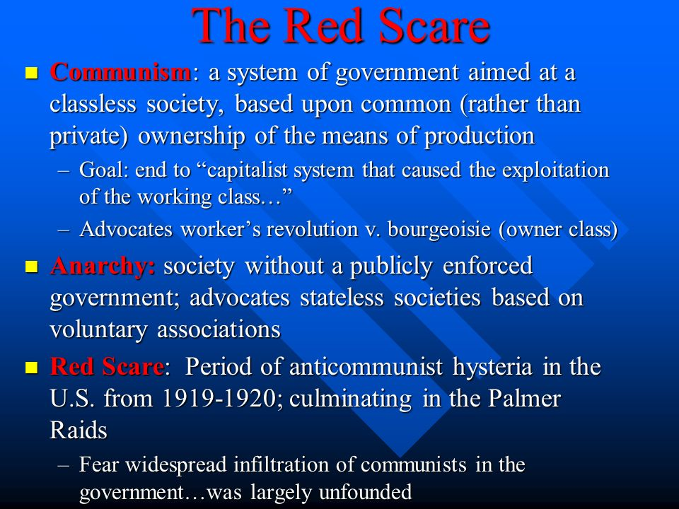 the red scare of 1919 essay Submit an essay ap us history notes scare so intense that it overshadowed the red scare of 1919 communist during the entire course of his red.