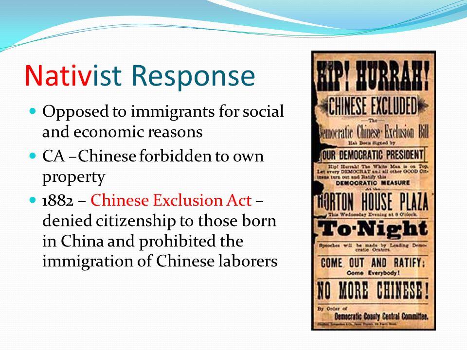 nativists response to immigration