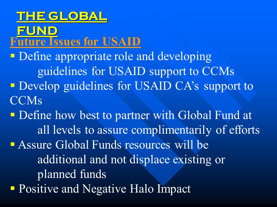 THE GLOBAL FUND Future Issues for USAID  Define appropriate role and developing guidelines for USAID support to CCMs  Develop guidelines for USAID CA's support to CCMs  Define how best to partner with Global Fund at all levels to assure complimentarily of efforts  Assure Global Funds resources will be additional and not displace existing or planned funds  Positive and Negative Halo Impact