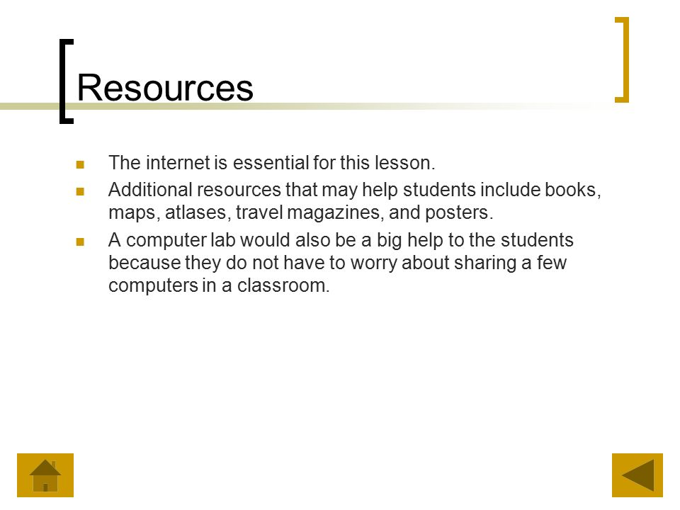 Resources The internet is essential for this lesson.