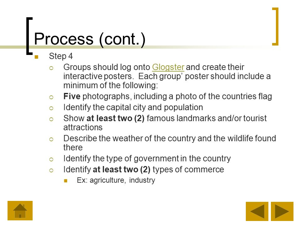 Process (cont.) Step 4  Groups should log onto Glogster and create their interactive posters.