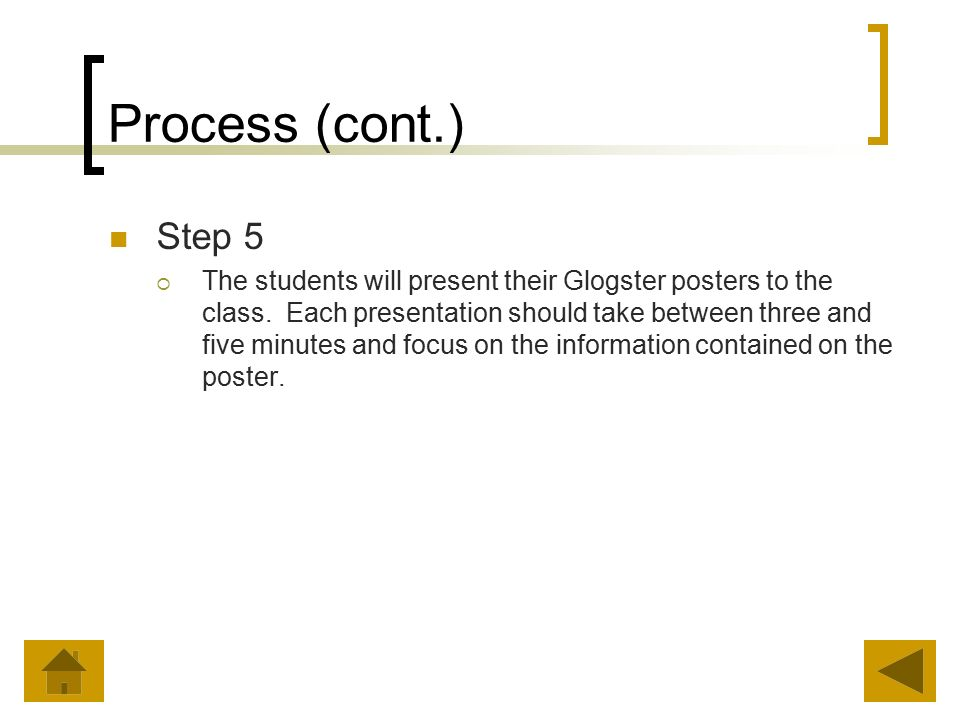Process (cont.) Step 5  The students will present their Glogster posters to the class.