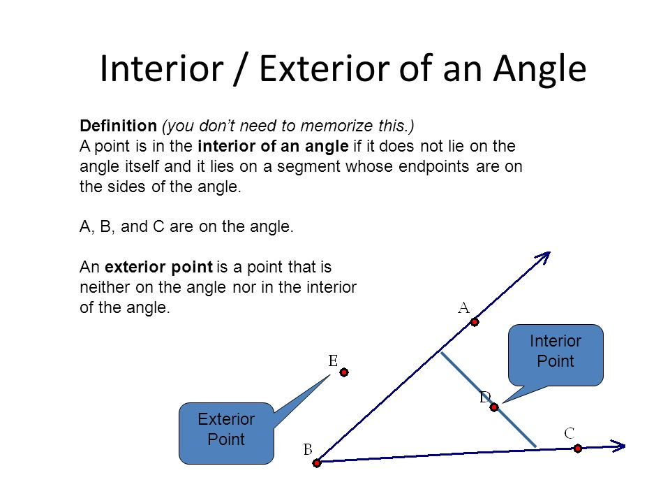 Angles And Points Angles Can Have Points In The Interior, In The Exterior,  Or