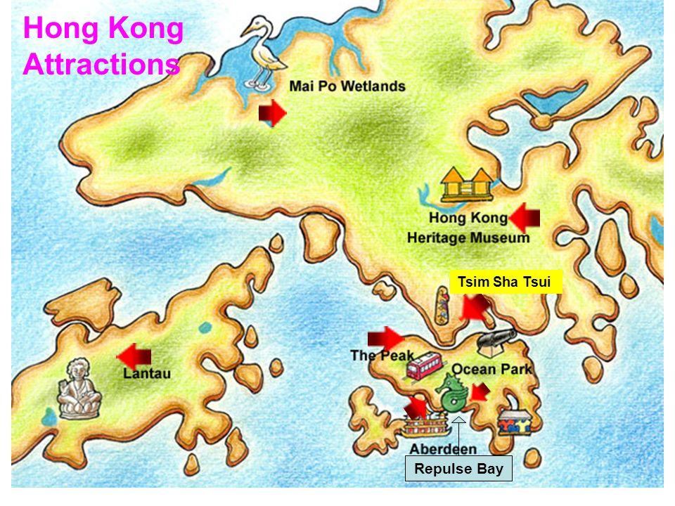 Hong Kong Attractions Repulse Bay Tsim Sha Tsui The Peak map The