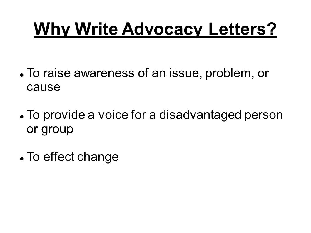 why write advocacy letters