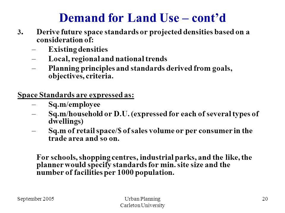 September 2005Urban Planning Carleton University 20 Demand for Land Use – cont'd 3.