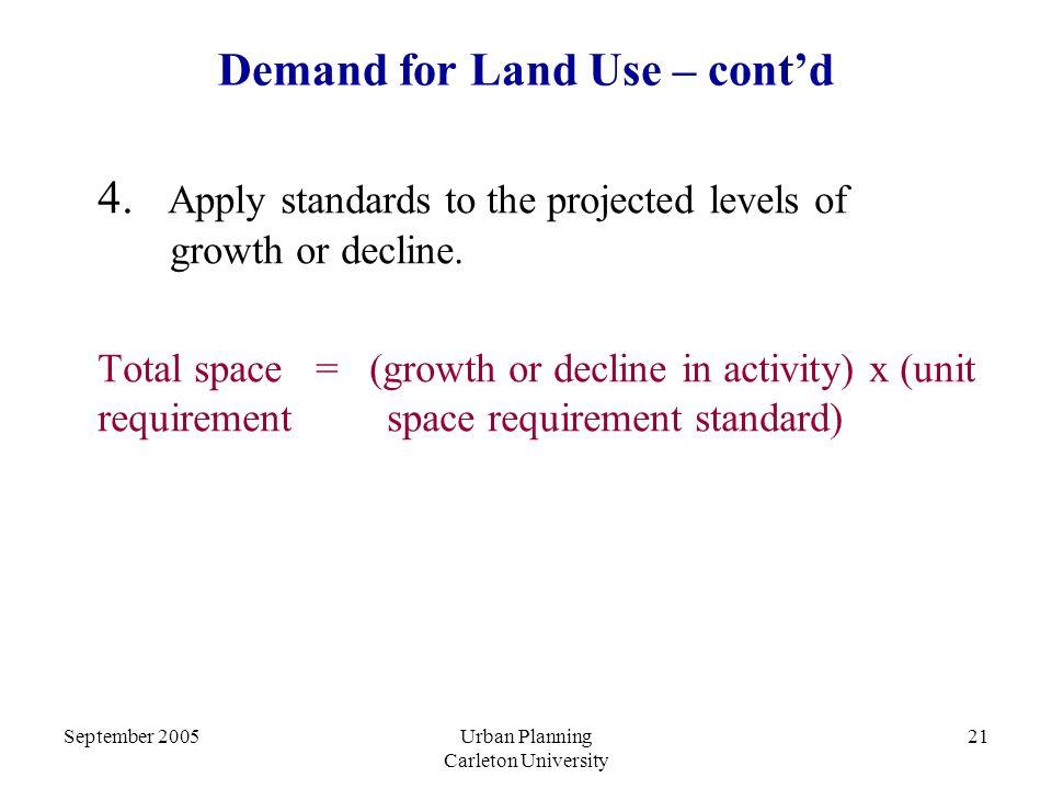 September 2005Urban Planning Carleton University 21 Demand for Land Use – cont'd 4.