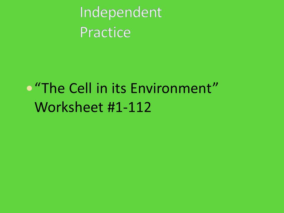 The Cell in its Environment Worksheet #1-112