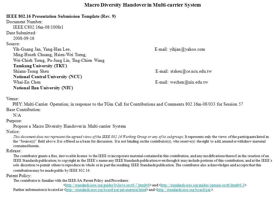 Handover Report Template Macro Diversity Handover In Multicarrier
