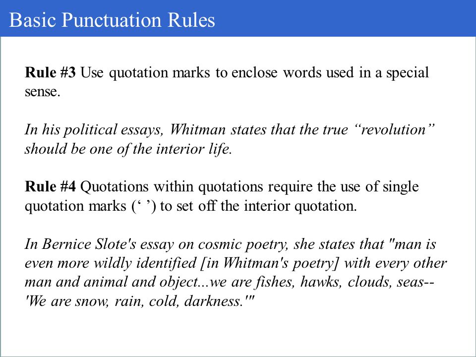 no punctuation essay Punctuation is made up of symbols which indicate how sentences are paused or divided up into parts which aid in making its meaning clear.