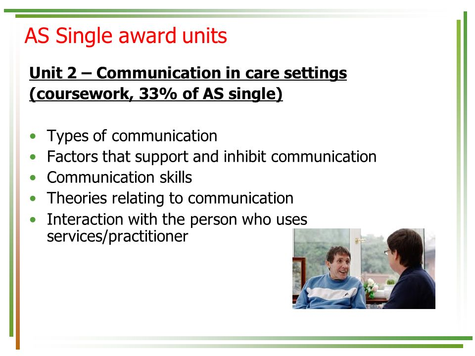 the factors supporting and inhibiting communication in care setting The various factors that can affect the communication within health and social care setting to support users of health and social care.