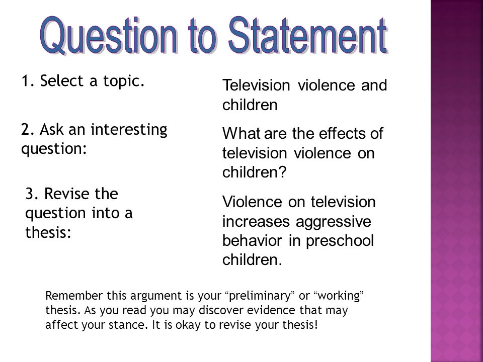 what is a working thesis Thesis generator thesis statement the thesis statement model used in this example is a thesis with reasons even though television can be educational.