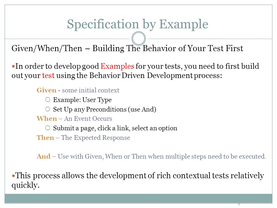 Behavior Driven Test Development Specification By Example Ppt