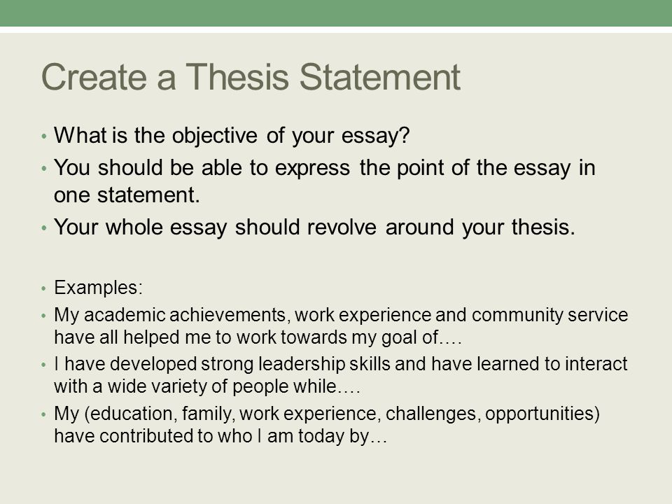 create a thesis statement for an academic essay Creating a thesis statement in academic writing, a thesis statement is a sentence that o forecast the content of the essay o create a basis for the.