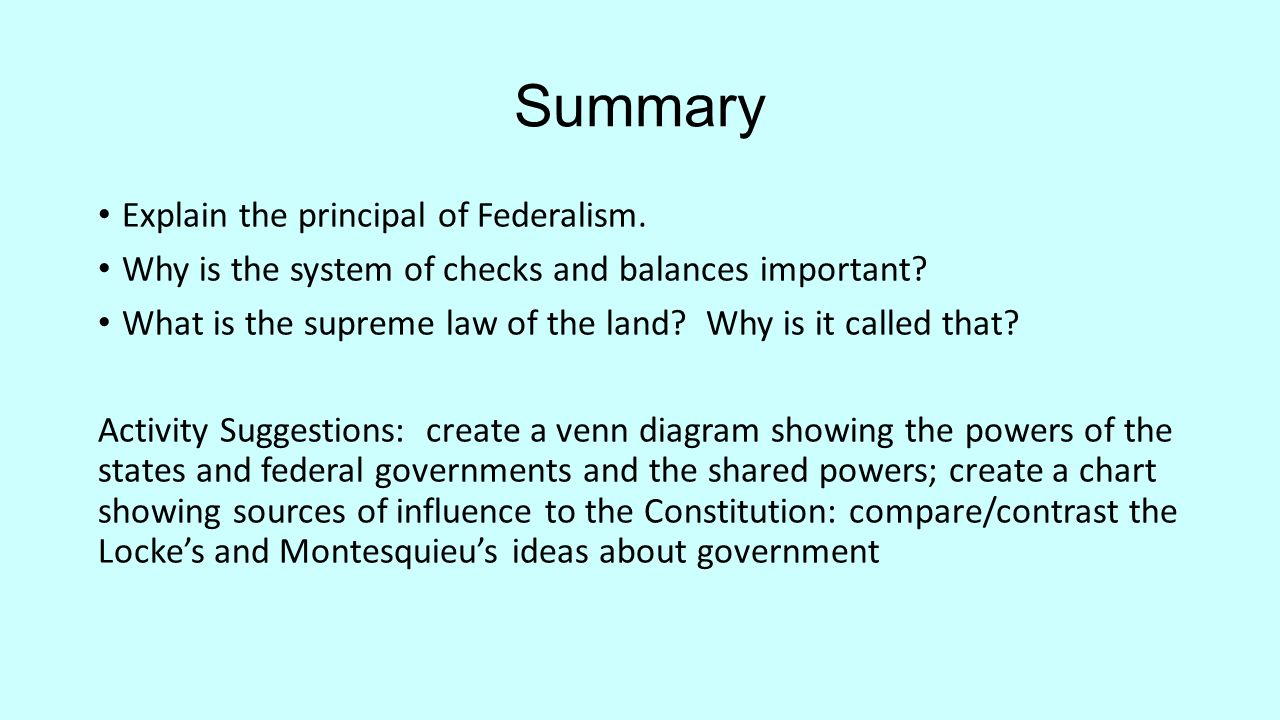 A new plan of government objective identify the documents ideas summary explain the principal of federalism why is the system of checks and balances important pooptronica Choice Image