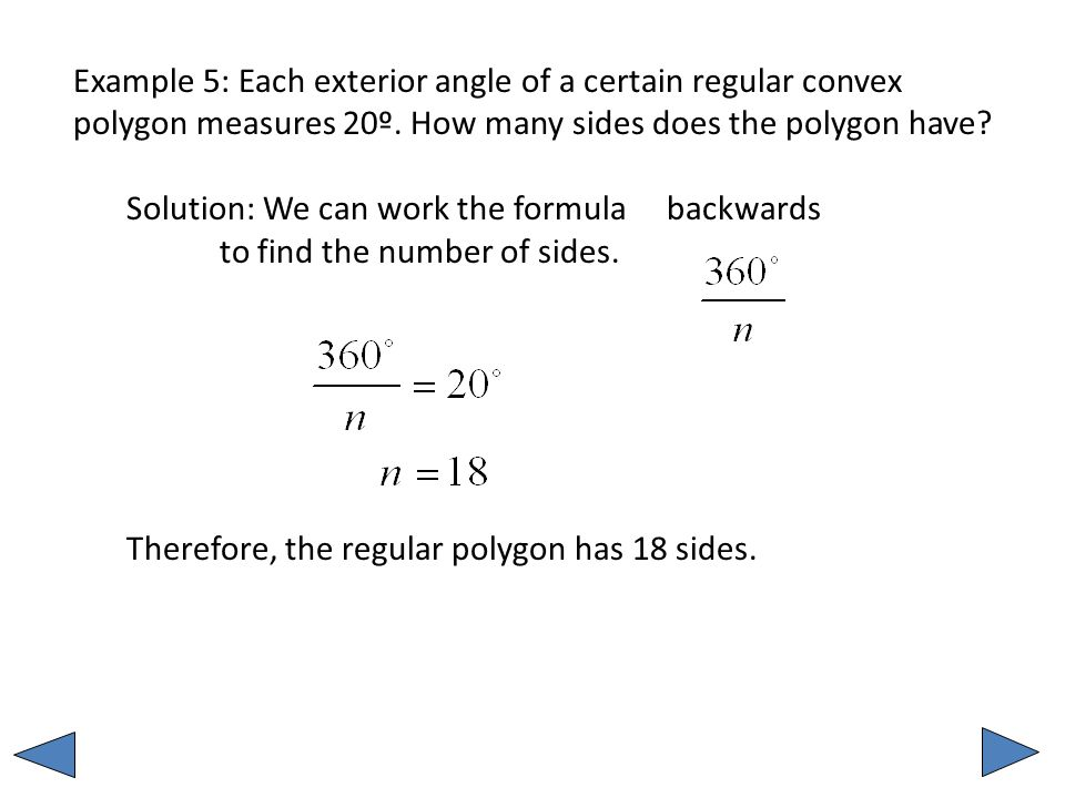 Example 5: Each Exterior Angle Of A Certain Regular Convex Polygon Measures  20º.