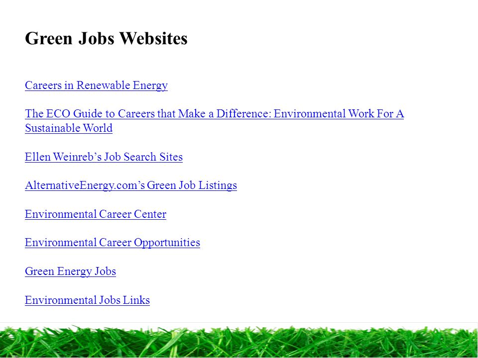 31 green - Jobs That Make A Difference In The World
