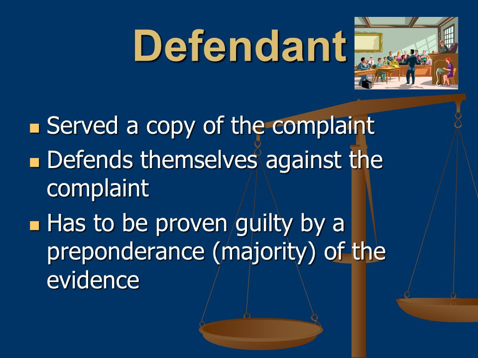 Defendant Served a copy of the complaint Served a copy of the complaint Defends themselves against the complaint Defends themselves against the complaint Has to be proven guilty by a preponderance (majority) of the evidence Has to be proven guilty by a preponderance (majority) of the evidence