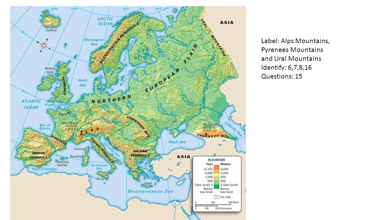 europe geography identify define questions and labeling  ppt  -  label alps mountains pyrenees mountains and ural mountains identify questions