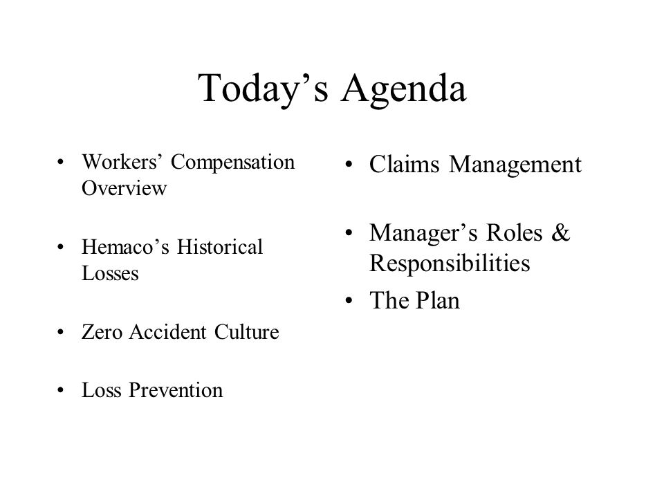 Zero Accident Culture Workers Compensation Overview for Hemaco – Loss Prevention Responsibilities