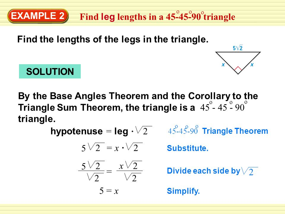 Warm up exercises example 1 find hypotenuse length in a triangle warm up exercises example 2 find leg lengths in a 45 45 90 ccuart Choice Image