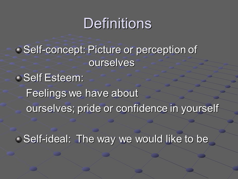 the definition of self concept Self-concept definition, the idea or mental image one has of oneself and one's strengths, weaknesses, status, etc self-image see more.