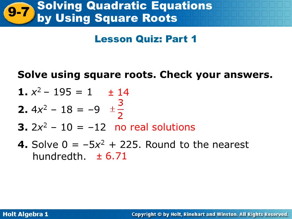 Solving Quadratic Equations By Finding Square Roots Worksheet – Quadratic Worksheets