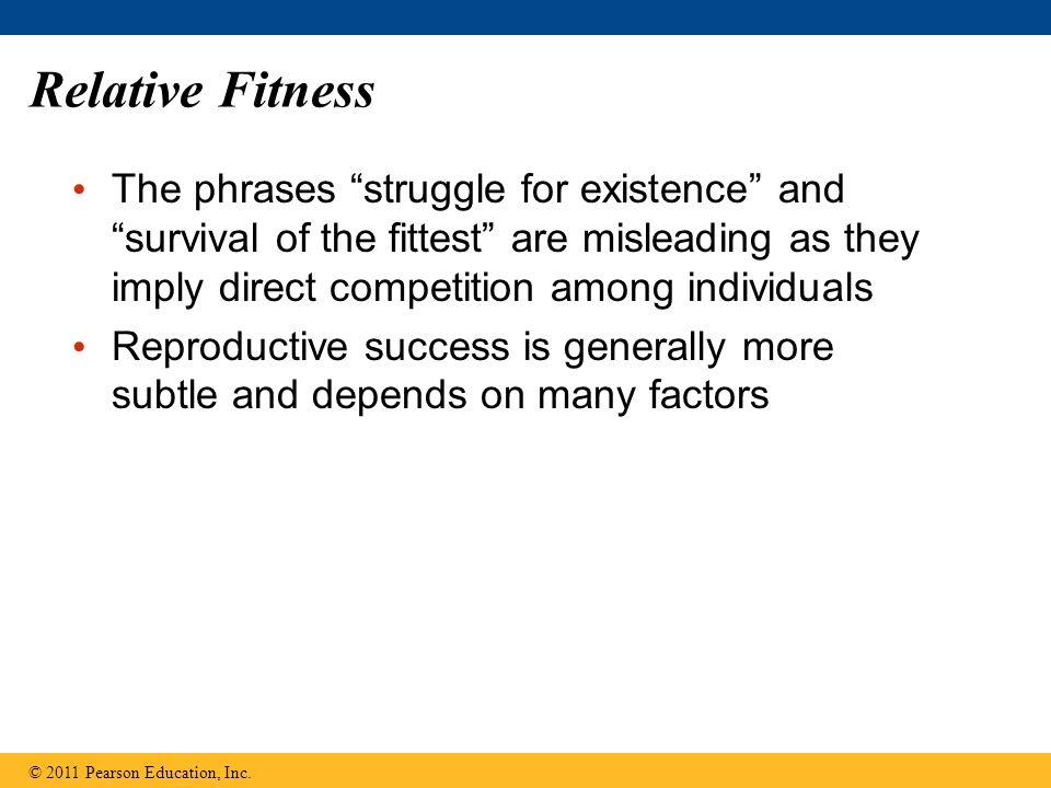 Relative Fitness The phrases struggle for existence and survival of the fittest are misleading as they imply direct competition among individuals Reproductive success is generally more subtle and depends on many factors © 2011 Pearson Education, Inc.