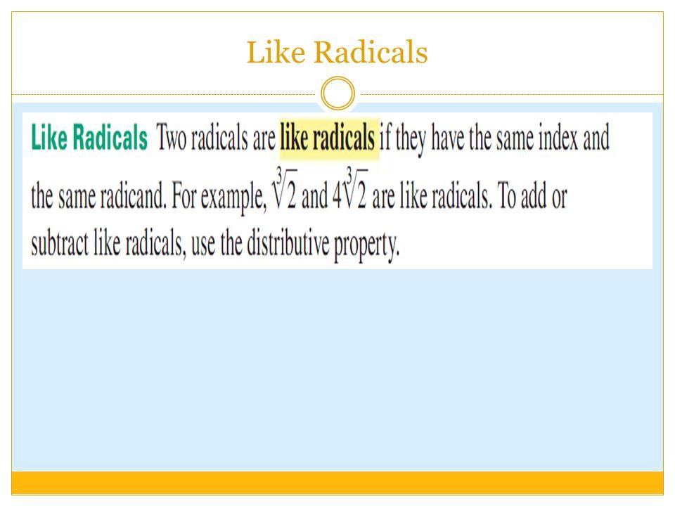 Like Radicals