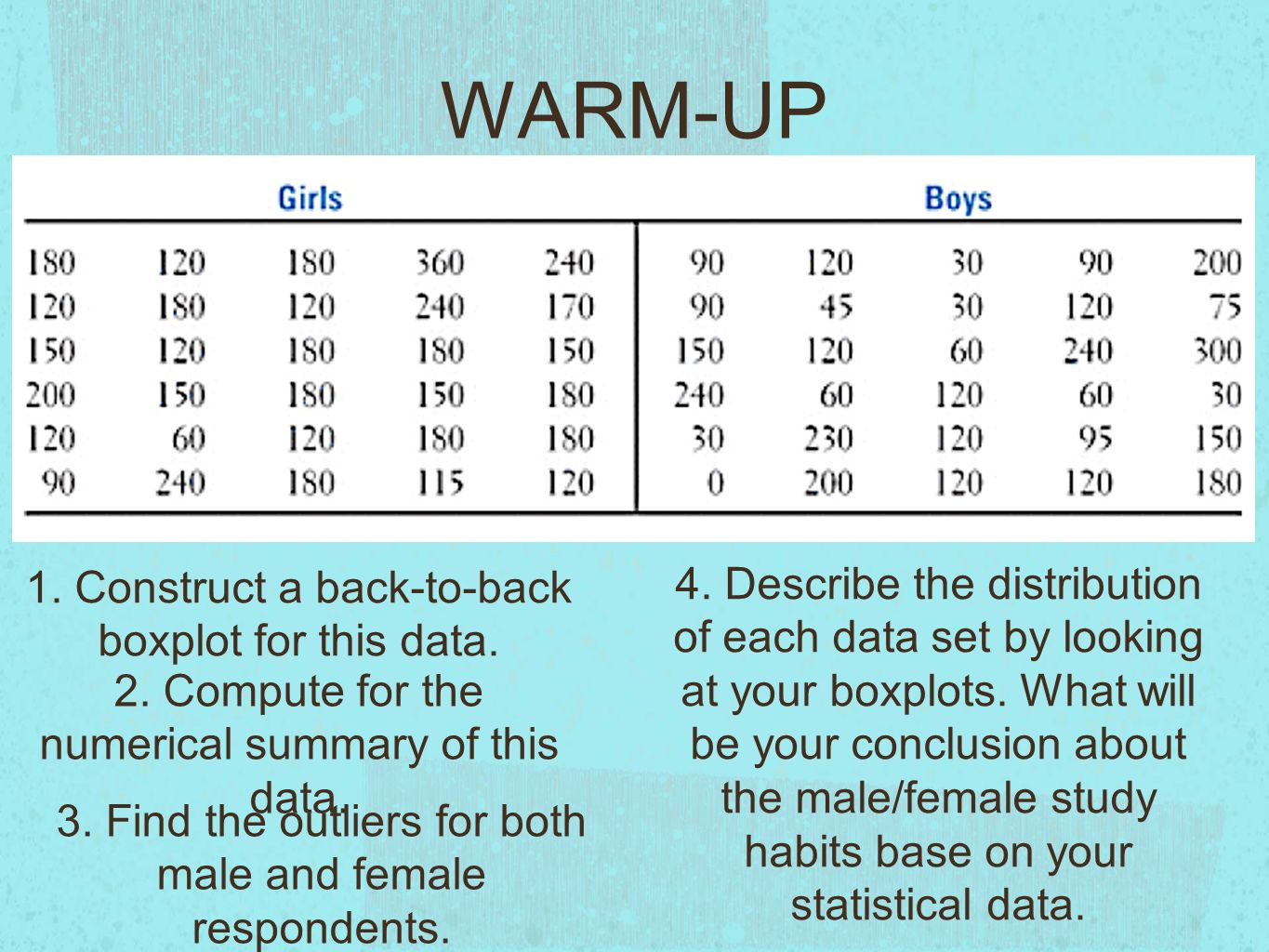 standard deviation warm up do girls study more than boys we  3 warm up