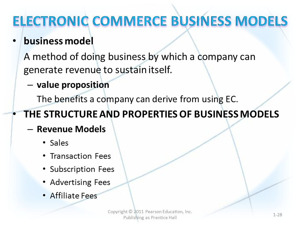 business model A method of doing business by which a company can generate revenue to sustain itself.