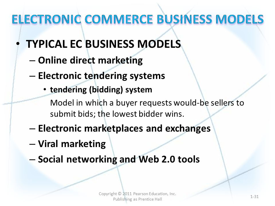 TYPICAL EC BUSINESS MODELS – Online direct marketing – Electronic tendering systems tendering (bidding) system Model in which a buyer requests would-be sellers to submit bids; the lowest bidder wins.