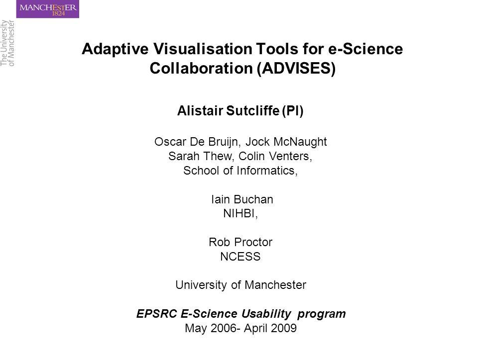 Adaptive Visualisation Tools for e-Science Collaboration (ADVISES) Alistair Sutcliffe (PI) Oscar De Bruijn, Jock McNaught Sarah Thew, Colin Venters, School of Informatics, Iain Buchan NIHBI, Rob Proctor NCESS University of Manchester EPSRC E-Science Usability program May 2006- April 2009