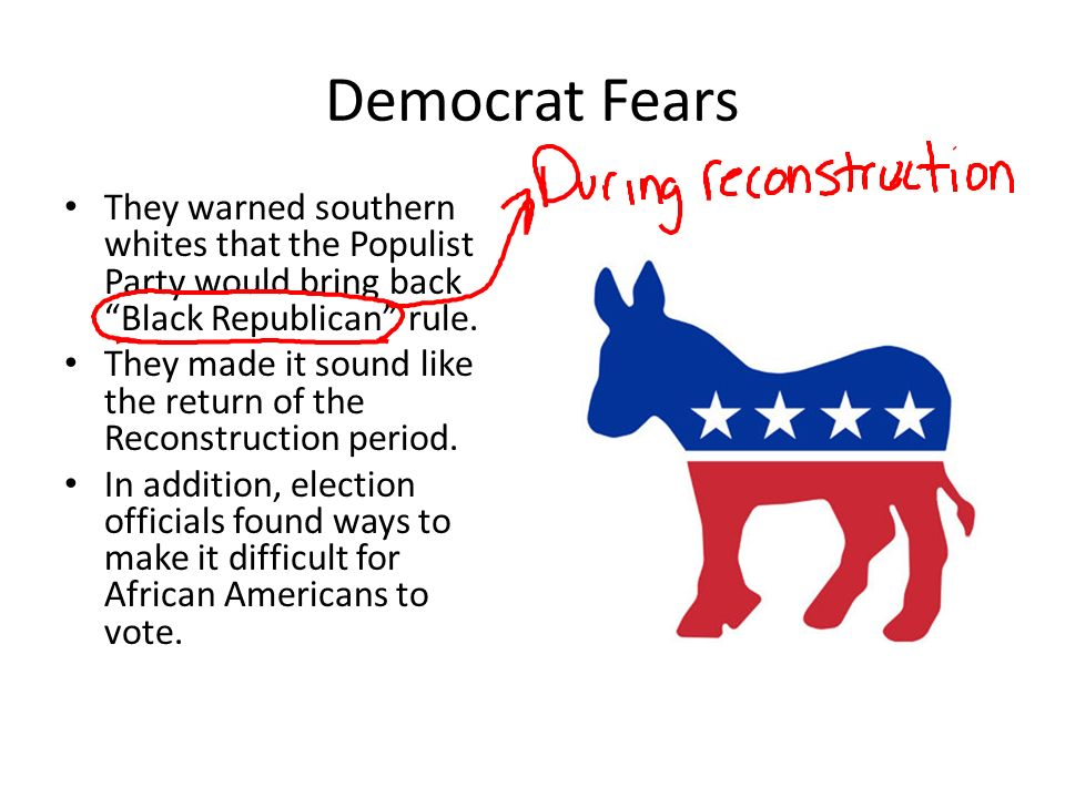 Democrat Fears They warned southern whites that the Populist Party would bring back Black Republican rule.
