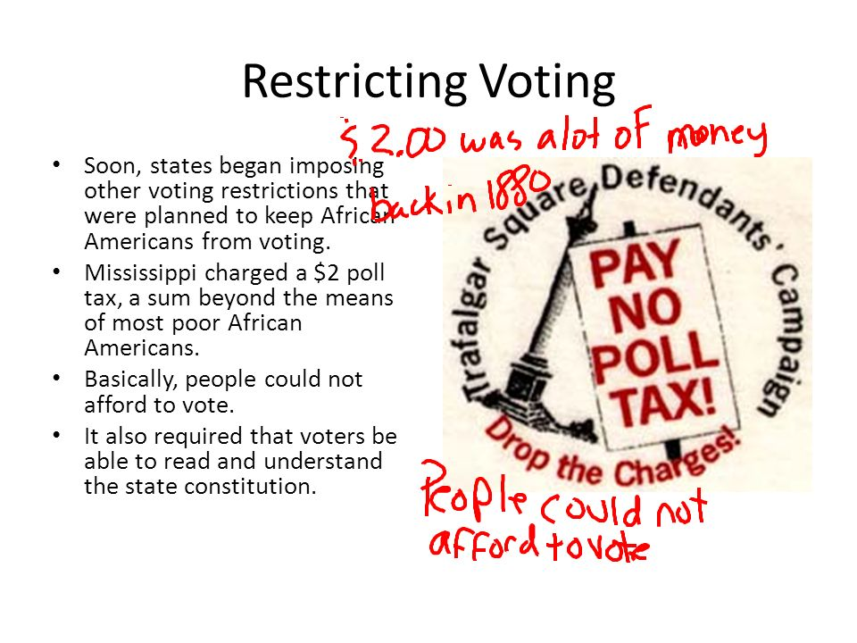 Restricting Voting Soon, states began imposing other voting restrictions that were planned to keep African Americans from voting.