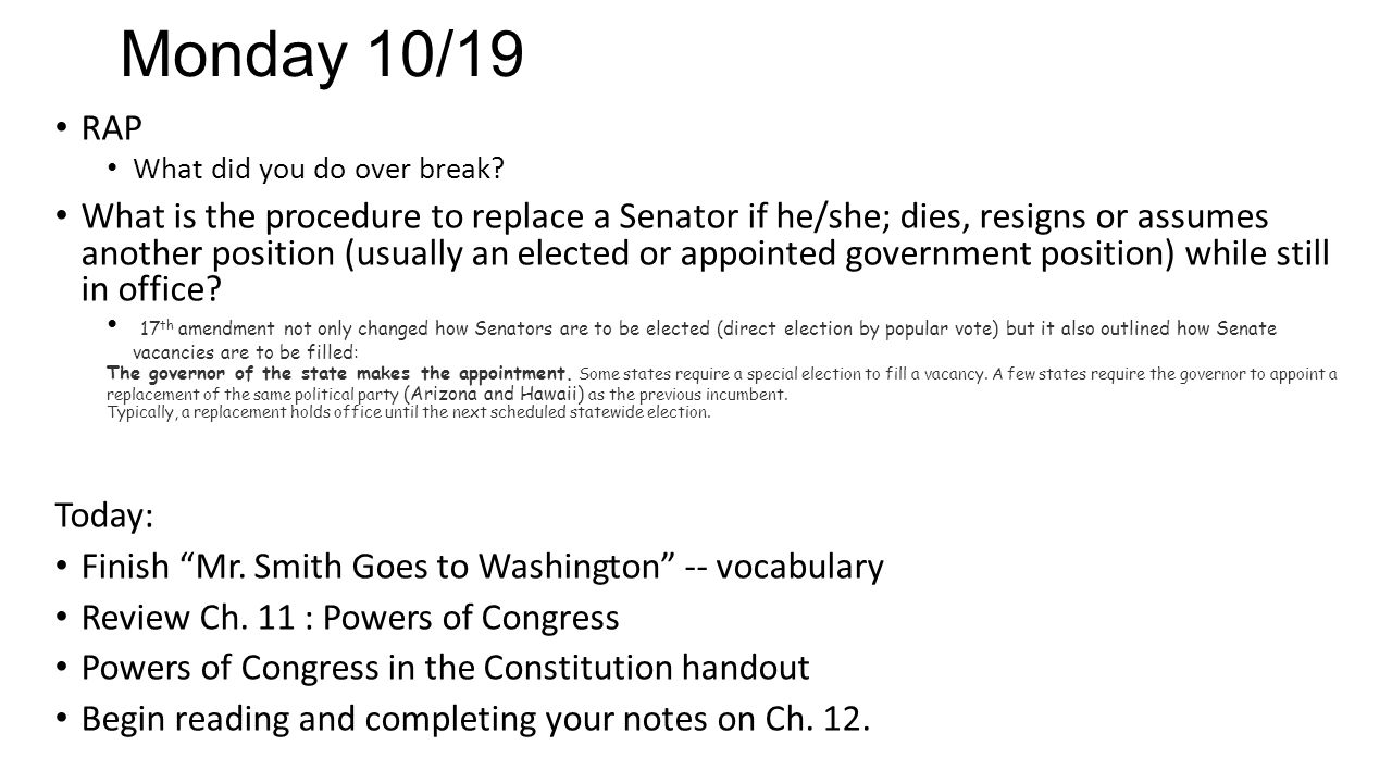 Worksheets Mr Smith Goes To Washington Worksheet thursday 108 rap explain the difference between expressed powers 3 monday
