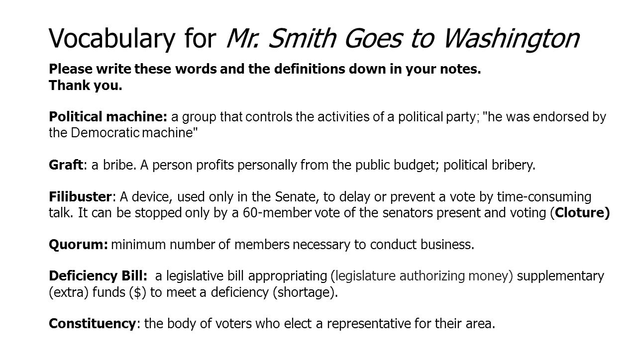 Worksheets Mr Smith Goes To Washington Worksheet thursday 108 rap explain the difference between expressed powers vocabulary for mr