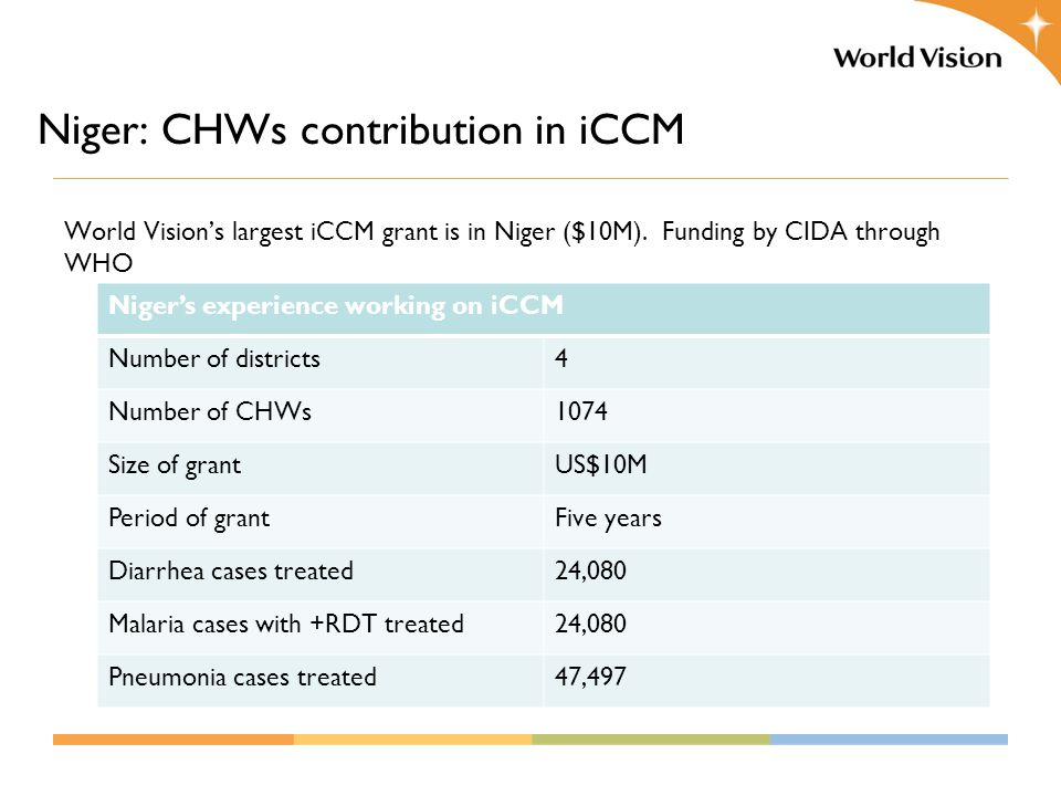 World Vision's largest iCCM grant is in Niger ($10M).