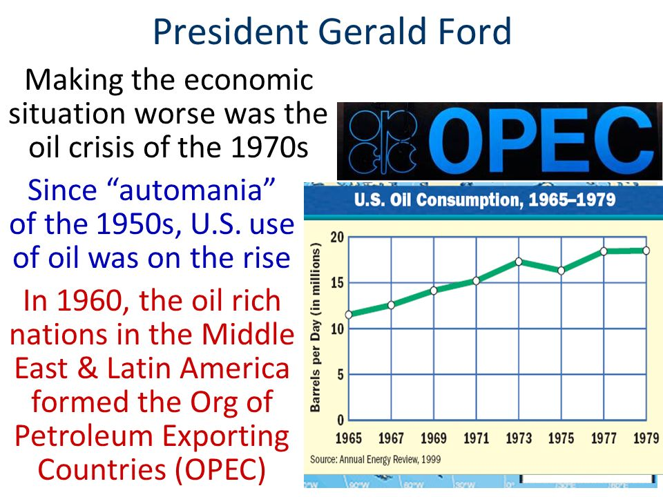 Another issue during Ford's presidency was a growing economic recession Since the early 1970s, the economy had grown stagnant with few new jobs or business profits Inflation, interest rates, & unemployment were all on the rise Stagnant economyHigh inflation Together, a stagnant economy & high inflation are known as: STAGFLATION