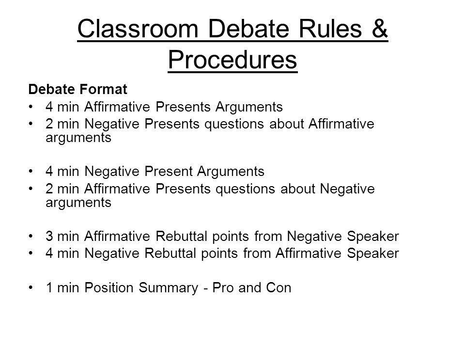 4 Classroom Debate Rules Procedures Debate Format  Classroom Debate  Classroom Debate Rules Procedures All group. Classroom Debate Format