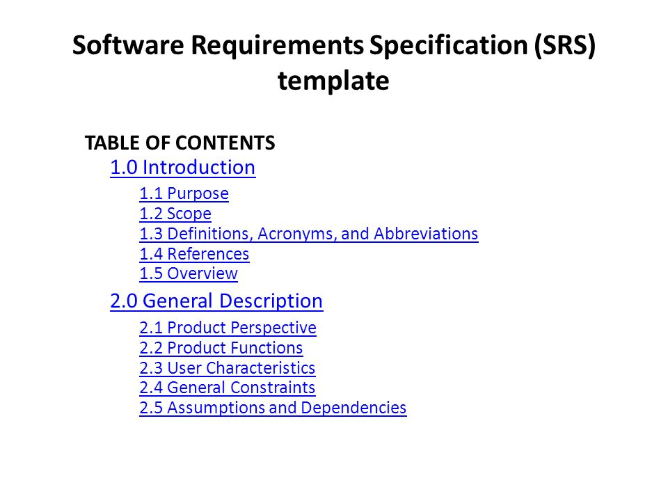 How to write a software requirements specification SRS