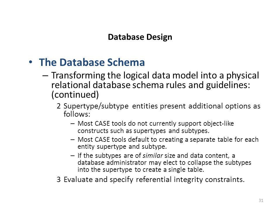 31 database design the database schema transforming - Database Design Guidelines