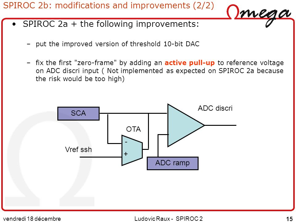 vendredi 18 décembre 2015 Ludovic Raux - SPIROC 2 15 SPIROC 2b: modifications and improvements (2/2) SPIROC 2a + the following improvements: –put the improved version of threshold 10-bit DAC –fix the first zero-frame by adding an active pull-up to reference voltage on ADC discri input ( Not implemented as expected on SPIROC 2a because the risk would be too high) ADC discri Vref ssh SCA - + ADC ramp OTA