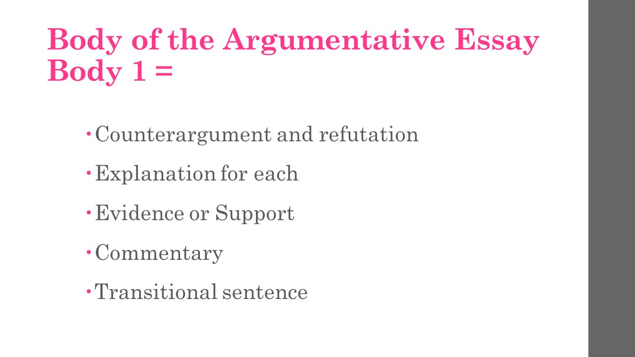 argumentative essay take notes types of argumentative essays the argumentative essay body 1 61590 counterargument and refutation 61590 explanation for each 61590 evidence or support 61590 commentary 61590 transitional sentence