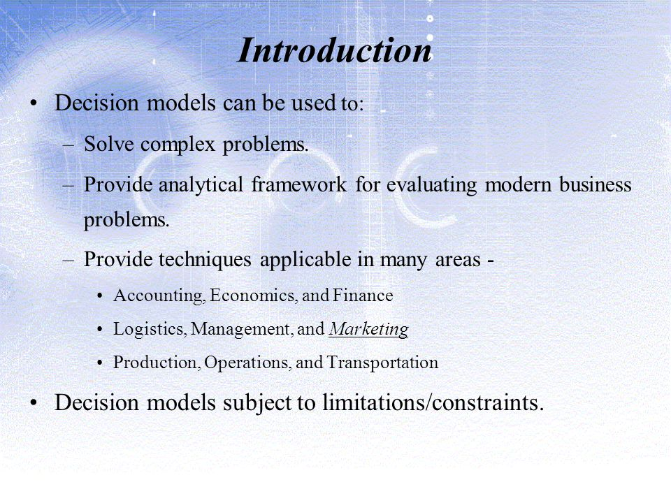 chapter1 exercise for managerial decision modeling essay