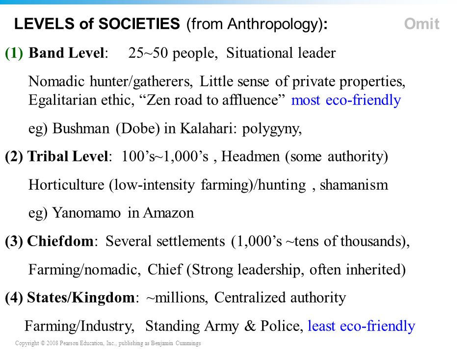 Copyright © 2008 Pearson Education, Inc., publishing as Benjamin Cummings LEVELS of SOCIETIES (from Anthropology): Omit (1)Band Level: 25~50 people, Situational leader Nomadic hunter/gatherers, Little sense of private properties, Egalitarian ethic, Zen road to affluence most eco-friendly eg) Bushman (Dobe) in Kalahari: polygyny, (2) Tribal Level: 100's~1,000's, Headmen (some authority) Horticulture (low-intensity farming)/hunting, shamanism eg) Yanomamo in Amazon (3) Chiefdom: Several settlements (1,000's ~tens of thousands), Farming/nomadic, Chief (Strong leadership, often inherited) (4) States/Kingdom: ~millions, Centralized authority Farming/Industry, Standing Army & Police, least eco-friendly