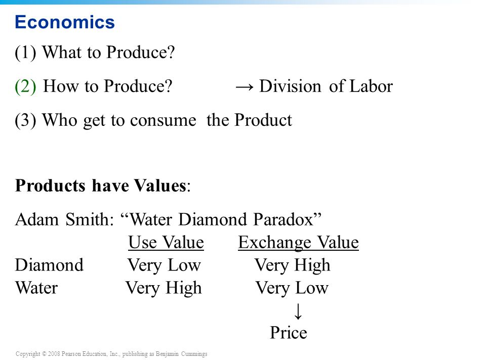 Copyright © 2008 Pearson Education, Inc., publishing as Benjamin Cummings Economics (1) What to Produce.