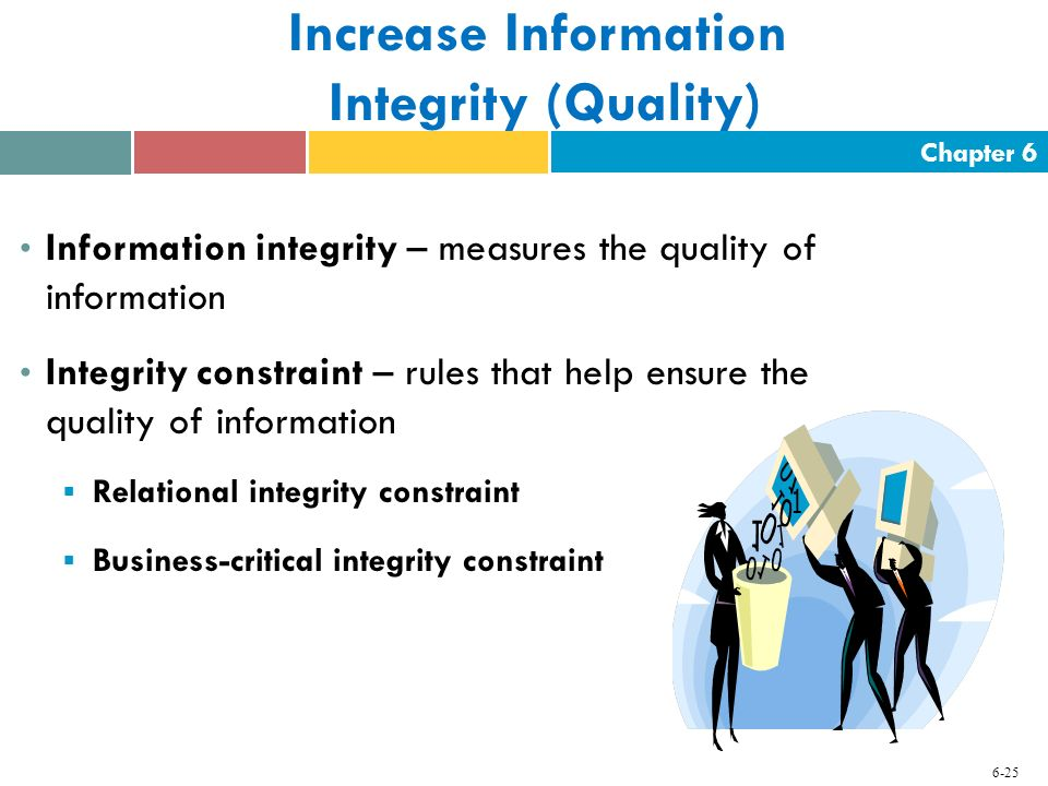 Chapter 6 6-25 Increase Information Integrity (Quality) Information integrity – measures the quality of information Integrity constraint – rules that